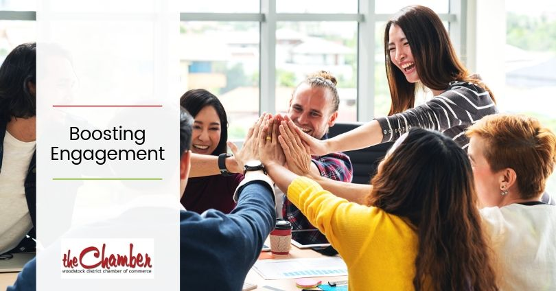 Colleagues around table - high five Employee Engagement